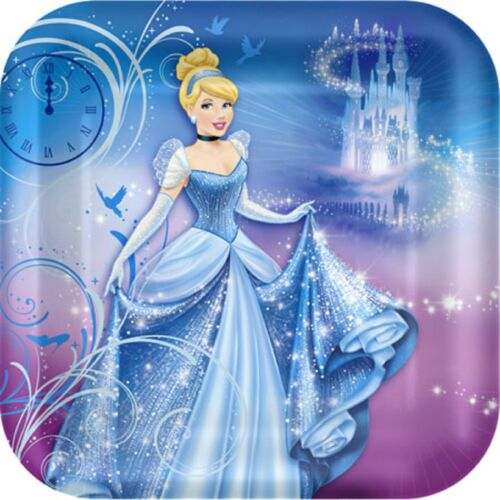 Disney Princess Cinderella Square Dinner Party Plate 8pk 23cm