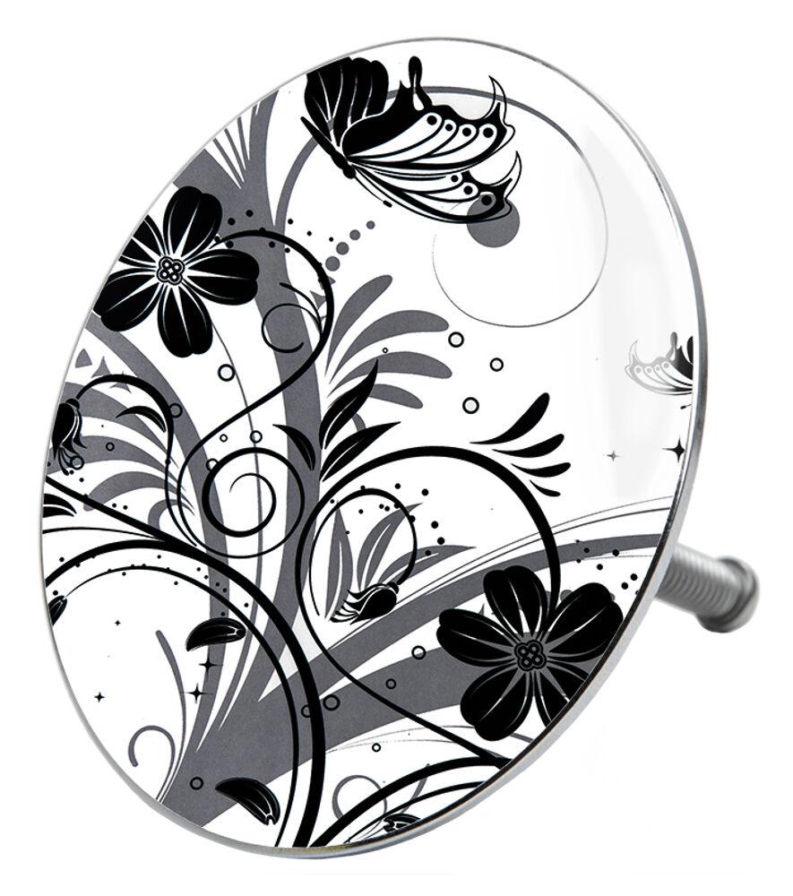 duschvorhang anti schimmel textil wannenvorhang badewannenvorhang black flower ebay. Black Bedroom Furniture Sets. Home Design Ideas