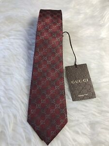 f1bedcf467a9 NWT GUCCI MEN S SILK GG GUCCISSIMA NECK TIE 408865 In Burgundy Red ...