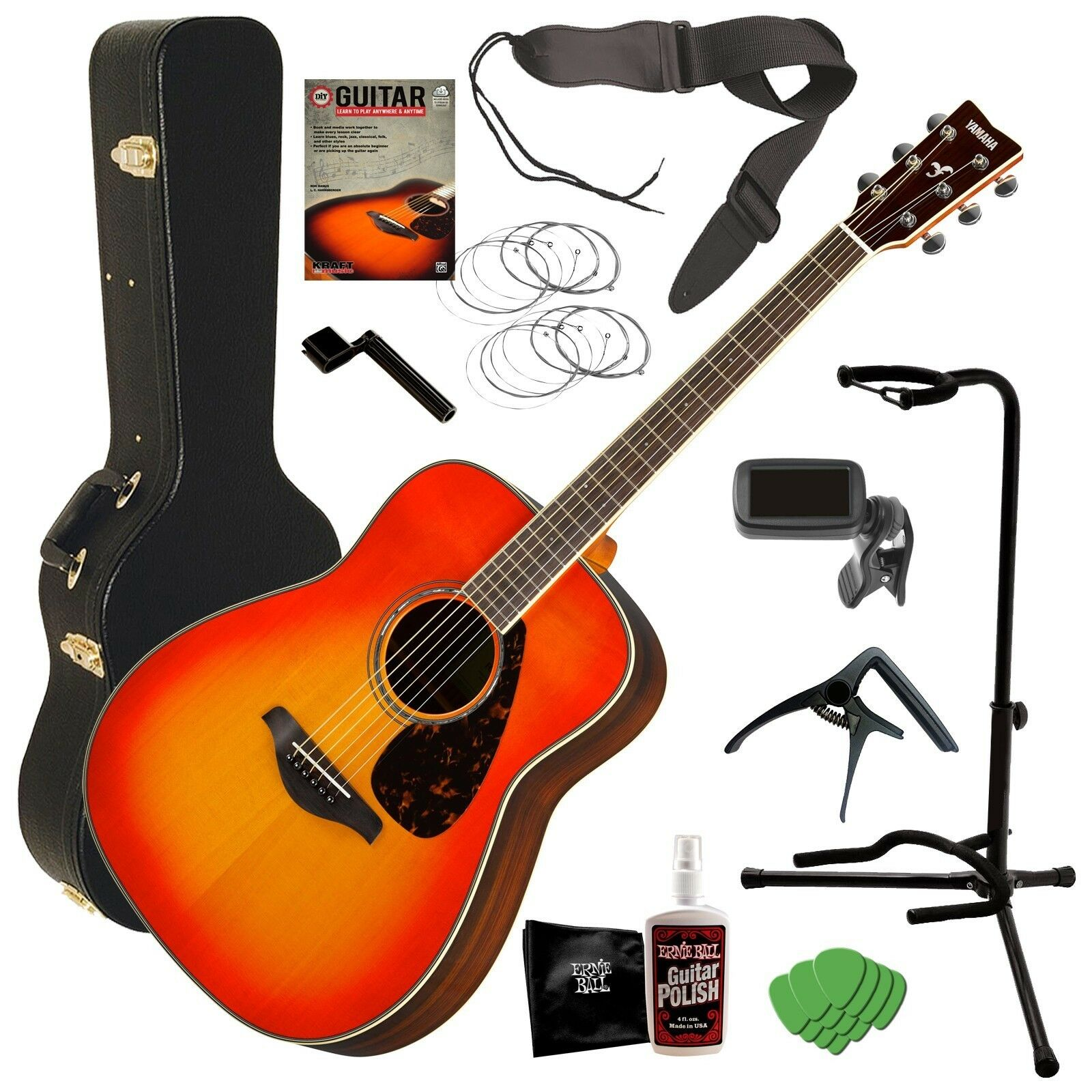 Yamaha FG830 Acoustic Guitar - Autumn Burst COMPLETE GUITAR BUNDLE