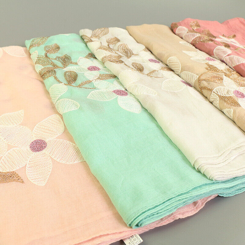 Maxi Hijab With Floral Embroidery