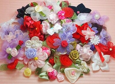 100 Assorted Organza/Satin Ribbon Flower/Rose/BowFlowers~Trim~GREAT PRICE!