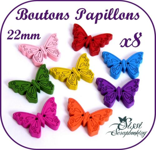 LOT 8 BOUTON PAPILLON BOIS MULTICOLORE SCRAP COUTURE SCRAPBOOKING PERLES BIJOUX