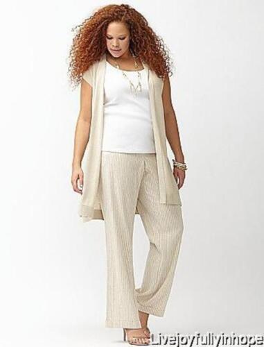 26 ~ FLAX Stripe LENA RAILROAD STRIPE LINEN Trouser Pants 3X LANE BRYANT ~ New