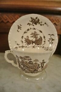 Mason-039-s-Ironstone-China-England-Watteau-Brown-Transferware-Cup-and-Saucer