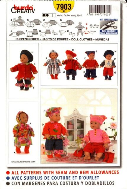 Burda Sewing Pattern 7903 Doll Clothes