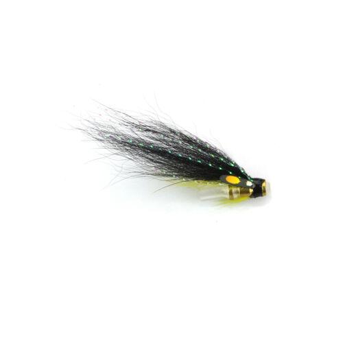 8-pack Black Yellow Loop Bottle Tube Fly Salmon Sea Trout Flies