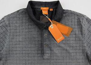 ca0fdbd8 Men's HUGO BOSS Spray Gray Plaid Polo Shirt Medium M NWT NEW Slim ...