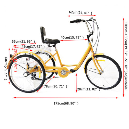 Radsport 24'' 6Gang Erwachsene Fahrrad Dreirad Cruise Adult Tricycle Trike+Korb+Kopflicht