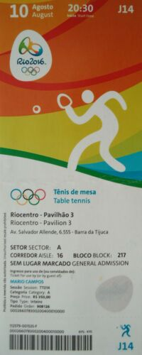 TICKET 10.8.2016 Olympia Rio Tischtennis Table Tennis # J14