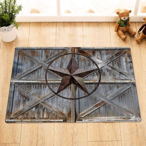 """Metal Texas Star Wood Farmhouse Barn Door Shower Curtain Set Bathroom Decor 72/"""""""
