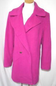 Garnet-Hill-Deep-Pink-Button-Front-Wool-Blend-Woman-039-s-Coat-10-Medium-de-hu