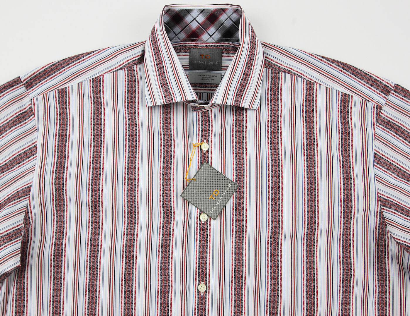 Men's THOMAS DEAN White colors Striped Shirt M Medium NEW NWT Nice  +