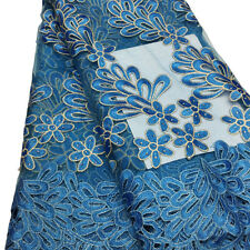 Turquoise Blue African French Flower Embroidery Net Lace Beads Voile Mesh Fabric