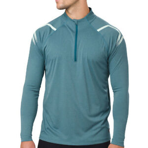 Asics-Mens-Icon-Long-Sleeved-1-2-Zip-Top-Blue-Sports-Running-Half-Breathable