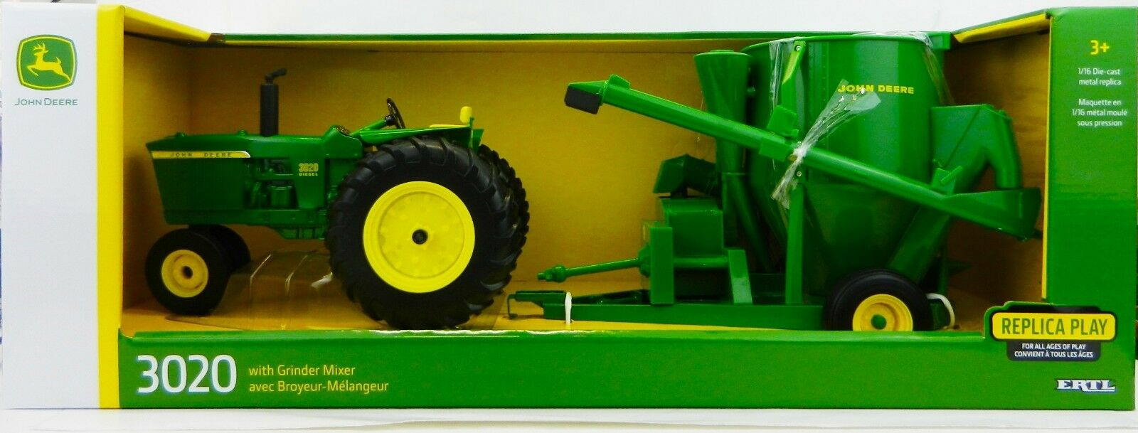 2018 ERTL 1 16 John Deere Model 3020 NF Tractor w GRINDER MIXER MILL 2pc SET NIB
