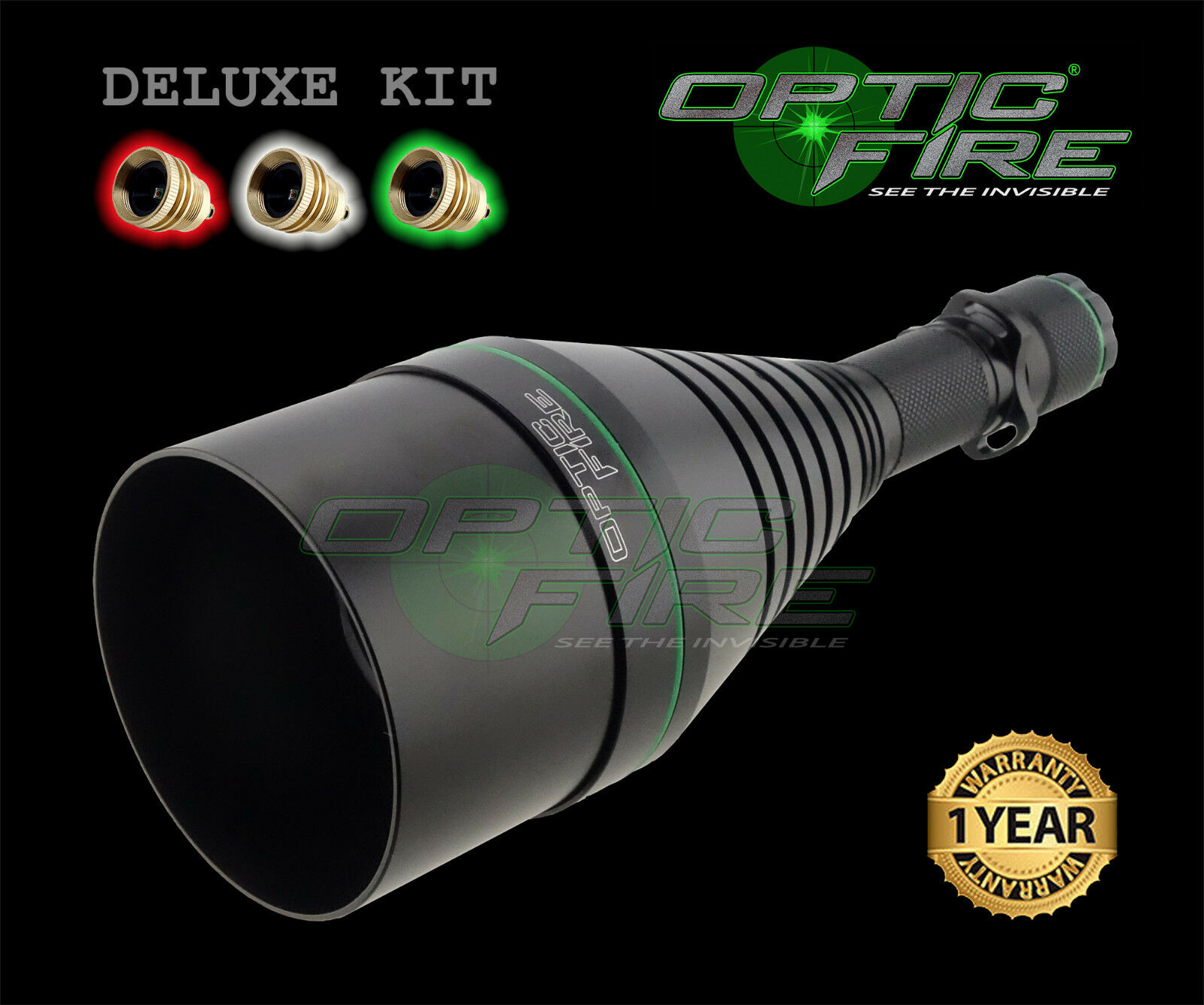 Opticfire® XS 3 LED High power hunting torch lamping lamp gun light deluxe kit