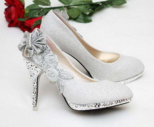 Silver beautiful Vogue lace Flowers Crystal High Heels Wedding Bridal Shoes Hot
