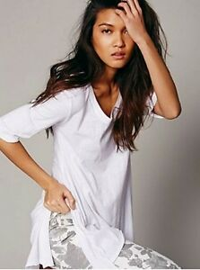 New Free People Intimately Exclusive White Melrose Swing Raw Cut Tee Top XS/S-L