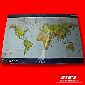 World atlas map of the world desk mat durable pvc covered board 620 image is loading world atlas map of the world desk mat gumiabroncs Choice Image