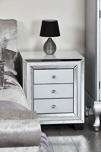 Image Is Loading Bedroom Furniture White Gl Mirror Trim Bedside Table