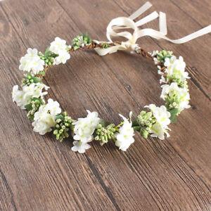 09c62bf34f8c35 Das Bild wird geladen Hochzeit-Blumenkranz-Haarband-Stirnband-Blueten- geflochten-Kopfschmuck-Zubehoer