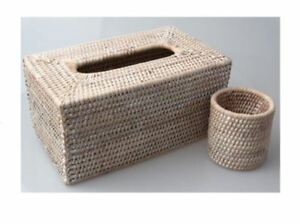 Details About White Wash Rattan Square Tissue Box Cover Holder Cane Woven Rectangular Decor