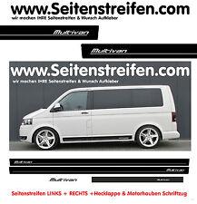 VW Bus T6 Seitenstreifen MULTIVAN Auto Aufkleber Komplett Set Matt Schwarz