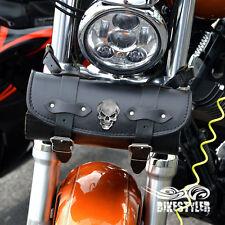 Sk) Black Leather Skull Pouch Tool Roll Bag Harley Davidson Yamaha Honda Custom