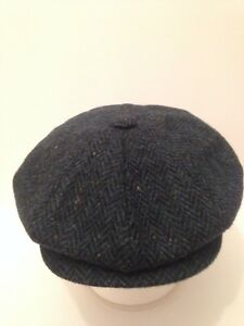 GENTS BLACK WOOL NEWSBOY BAKER BOY GATSBY CAP PEAKY BLINDER S M L XL 2XL
