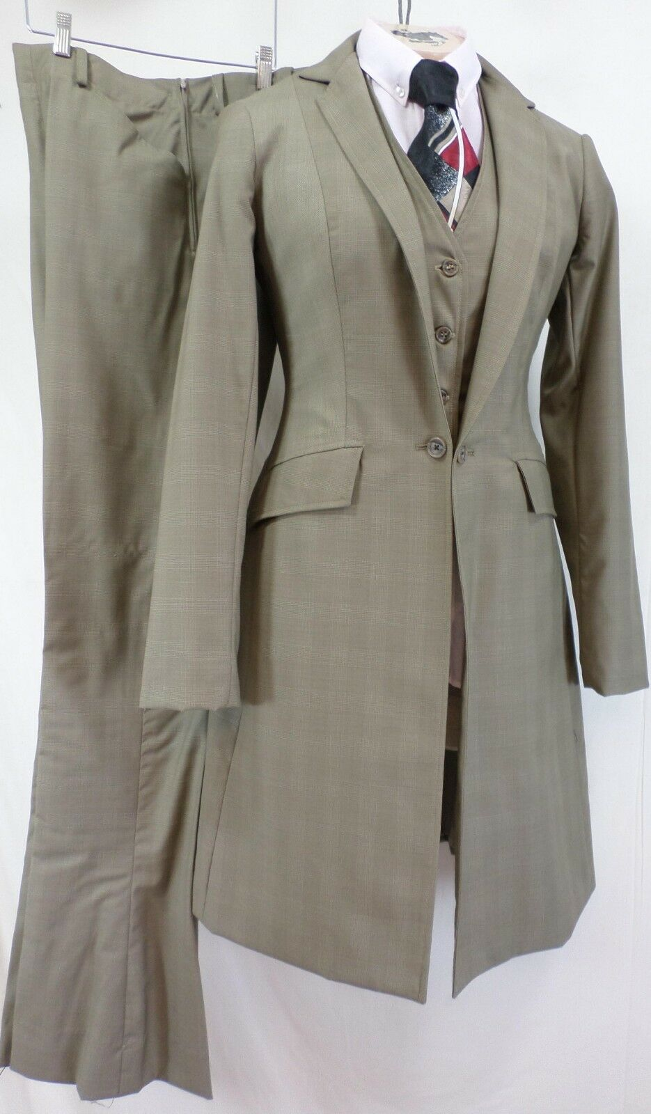 Reed Hill Saddleseat Ld 3p suit Tan Plaid Wool  Blend Größe 20 - MADE IN USA