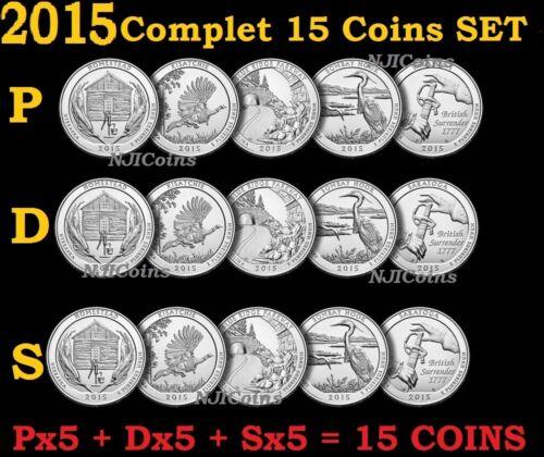 D 2015 P S ATB America the Beautiful Parks Quarter Clad 15 Coins COMPLETE Set