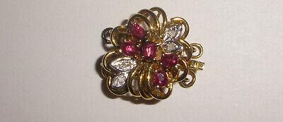 Vintage 14k 585 Gold Diamond Ruby Clasp