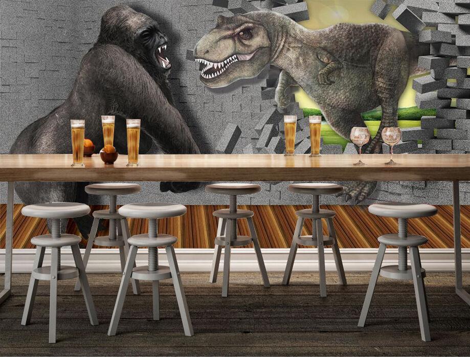 3D Dinosaurs, orangutans Wall Paper Print Wall Decal Deco Indoor Wall Murals