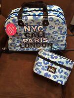 Justice set Nyc, Cali, Paris sequin Light Up Wheels Roller Duffle Bag