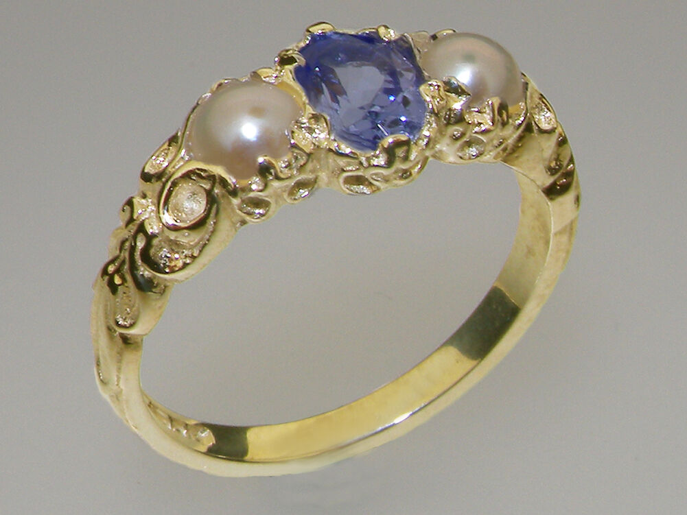 10k Yellow gold Natural Tanzanite & Pearl Womens Trilogy Ring - Sizes 4 to 12