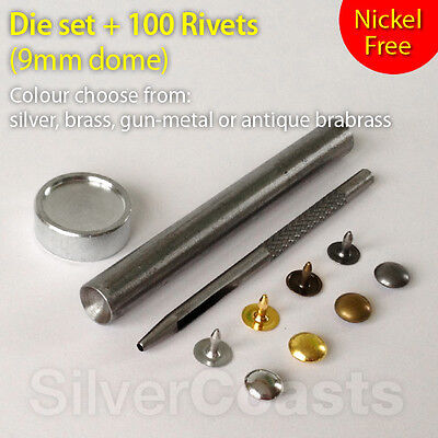Nickel Free Sewing Leather Craft 100 Hat Rivets Tool set Punch die Jeans Bag