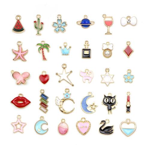 30PC Mixed Style Enamel Charm Star//Moon//Tree//Starfish//Crown Pendant DIY Craft