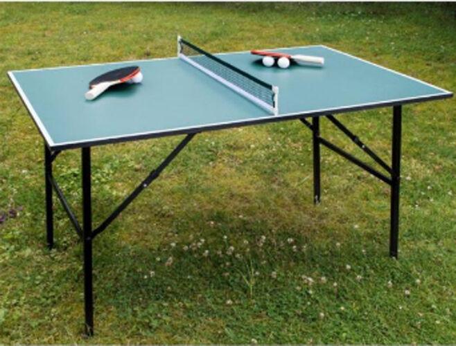 Klappbare MIDI-Tischtennisplatte 120 x 75 x 65 cm mit Netz Schläger und Bälle