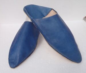 UNISEX-MOROCCAN-LEATHER-POINTED-BACKLESS-MULES-SLIPPERS-BLUE-ALL-SIZES