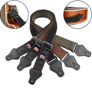 Electric-Acoustic-Bass-Cotton-Guitar-Strap-Belt-With-3-Pick-Plectrums-Holders-XG