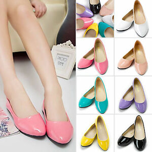 Summer-Ladies-Colors-Boat-Shoes-Ballet-Leather-Loafer-Casual-Slip-On-Single-Flat