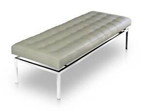 Bauhaus Leather Seating Bench 109 Cm Length Seat Height 44 Cm Real Leather Grey Ebay