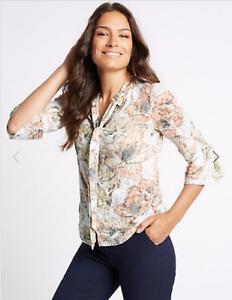 3fc86df7 BNWT M&S Classic Neutral Floral Tie Front Burnout Blouse Shirt Top 3 ...