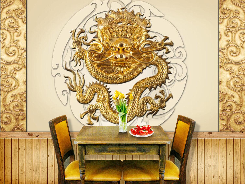 3D Art gold Dragon 74 Wall Paper Murals Wall Print Wall Wallpaper Mural AU Kyra
