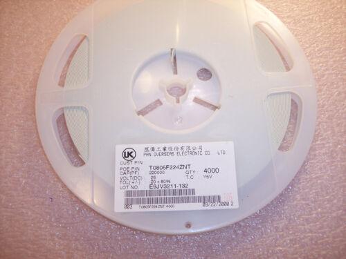 T0805F224ZNT PAN OVERSEAS 0805 .22uf 25V 80//-20/% Y5V SMD CERAMIC QTY 4000