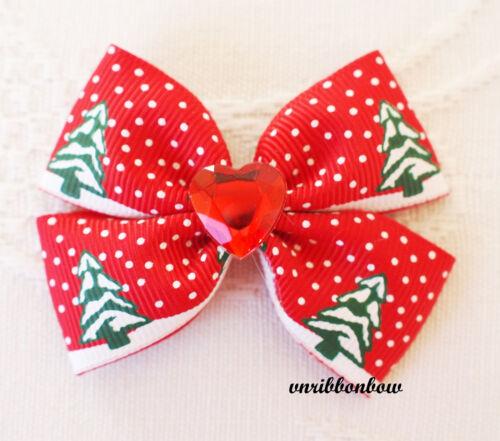 PAIR CHRISTMAS THEME Handmade Girl Hair Accessories Ribbon Bows Clips Bobbles