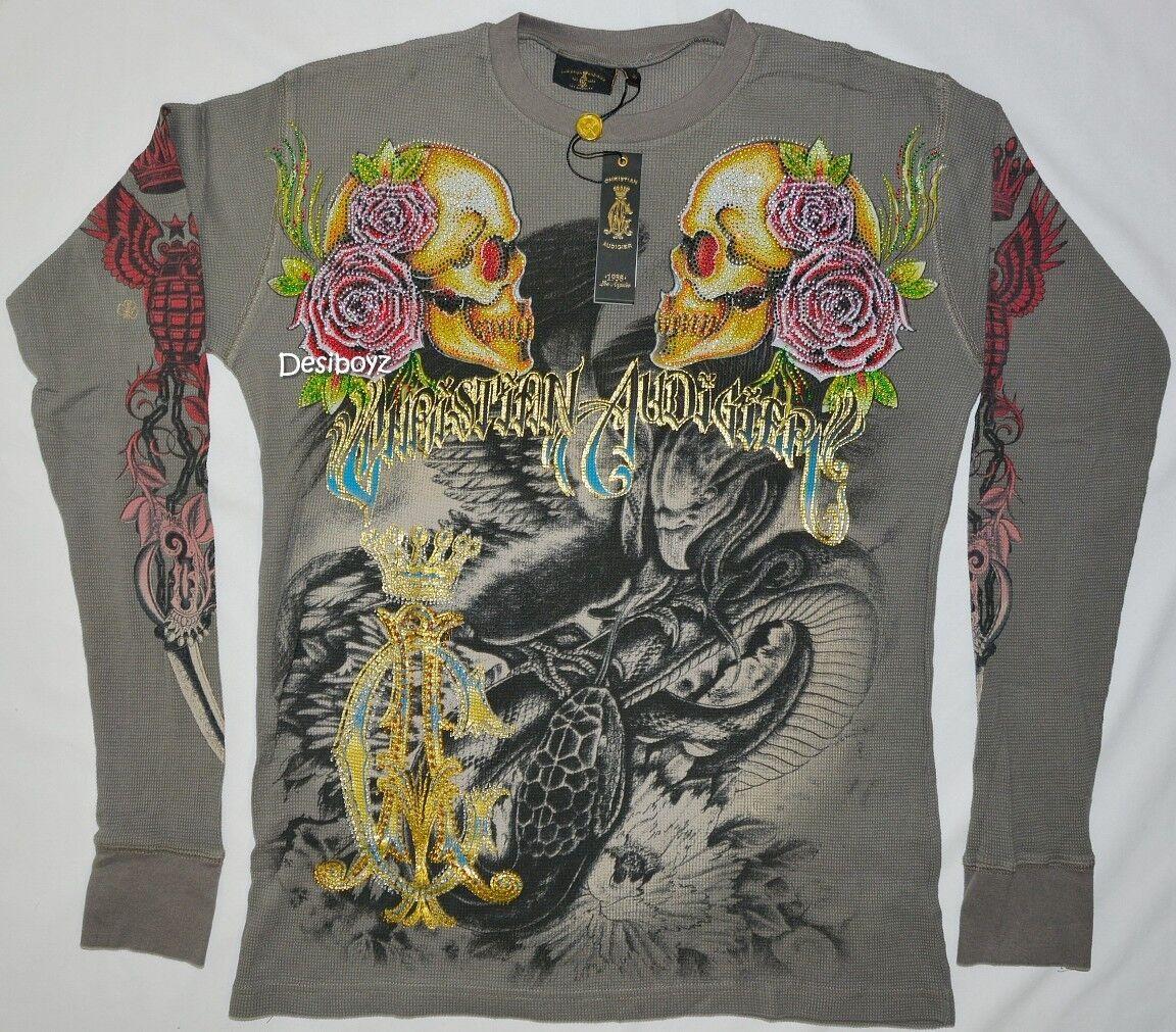BNWT Audigier - Christian Audigier BNWT autentico Snake Eagle Battle Skull Roses Rhinestones 754994