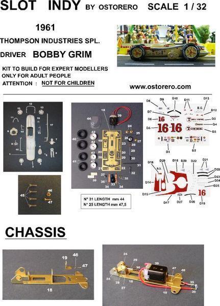 Ostorero Watson Offenhauser-Bobby Grim - 1961 Indy 500 1 32 Slot Car ODG 010