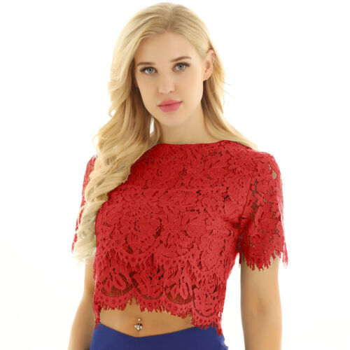 Fashion Women Summer Lace Crop Top Short Sleeve Blouse T-shirt Casual Tank Tops